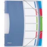 624029 - LEITZ/ESSELTE Sorteermap 3-Klep Vivida 6-Tabs 0.5mm Transparant