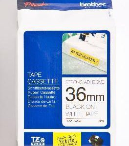 TZE-S261 - Brother Lettertape P-Touch 36mm 8m Wit Zwart