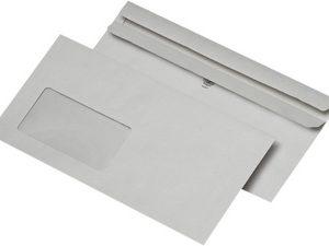 22336/8 - MAILmedia Venster Envelop DIN Lang 75gr Links Strip 1.000st Grijs