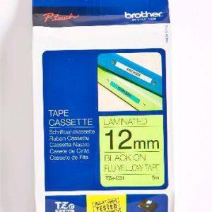 TZE-C31 - Brother Lettertape P-Touch 12mm 8m Fluorescent Geel Zwart