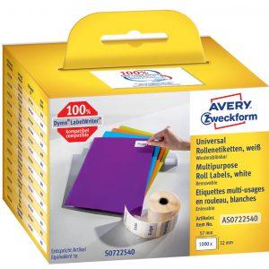 AS0722540 - AVERY Universal Etiket Papier 57x32mm 1.000st Wit op Rol