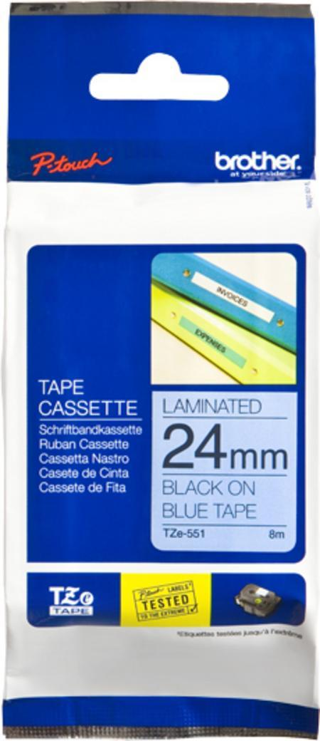 TZE-551 - Brother Lettertape P-Touch 24mm 8m Blauw Zwart