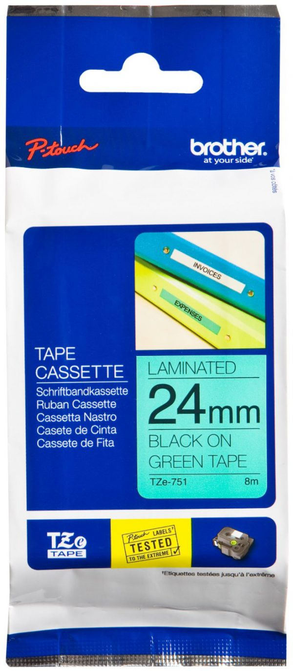 TZE-751 - Brother Lettertape P-Touch 24mm 8m Groen Zwart