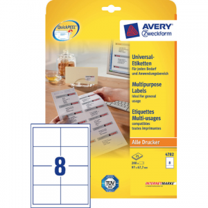 4782 - AVERY Universal Etiket Zweckform no:4782 97x67.7mm 200st Wit