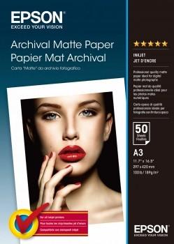 C13S041344 - EPSON Fotopapier Archival A3 Mat Wit 50vel