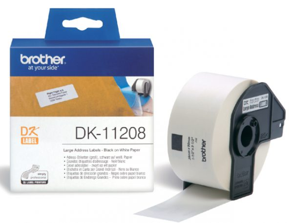 DK-11208 - Brother Adres Etiket Papier Permanent DK 11208 90x38mm 400st Wit 1Baans Op Rol