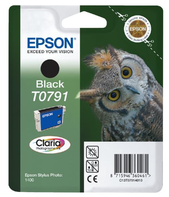 C13T07914010 - EPSON Inkt Cartridge T0791 Black 11ml 1st
