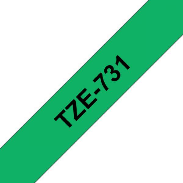 TZE-731 - Brother Lettertape P-Touch 12mm 8m Groen Zwart
