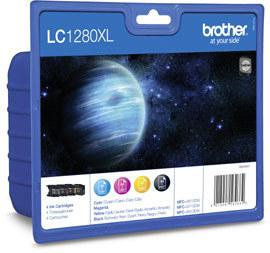 LC-1280XLVAL - Brother Inkt Cartridge Black & Cyaan & Magenta & Yellow 54,7ml Multipack