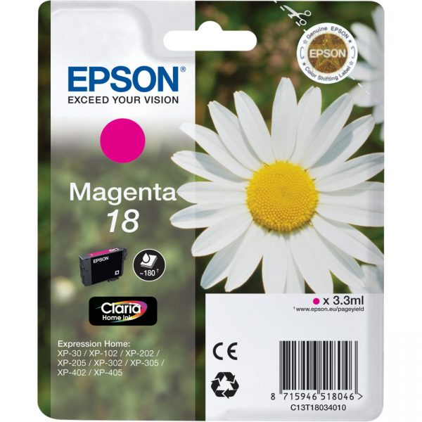 C13T18034010 - EPSON Inkt Cartridge 18 Magenta 3,3ml 1st