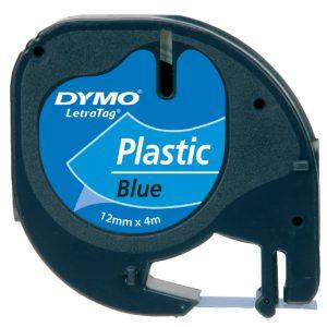 S0721650 - DYMO Lettertape LetraTag 12mm 4m Blauw Zwart Plastic 91205