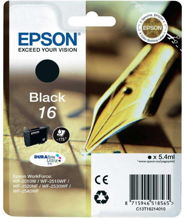 C13T16214010 - EPSON Inkt Cartridge 16 Black 5,4ml 1st