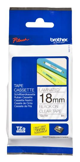 TZE-141 - Brother Lettertape P-Touch 18mm 8m Transparant Zwart