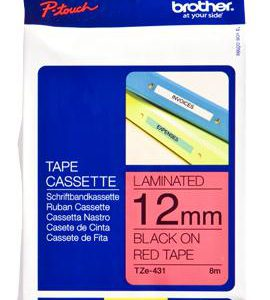 TZE-431 - Brother Lettertape P-Touch 12mm 8m Rood Zwart