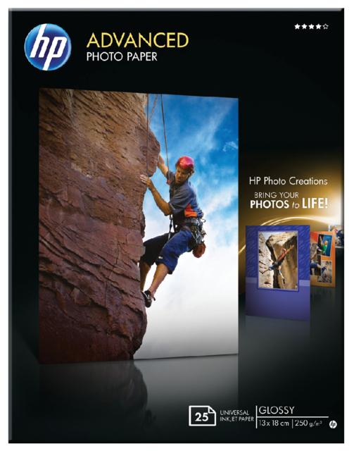 Q8696A - HP Fotopapier Advanced 13x18cm 250g/m² Gloss 25vel