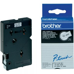 TC-201 - Brother Lettertape P-Touch 12mm 7.7m Zwart Wit