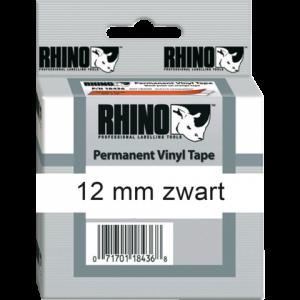 S0718600 - DYMO Lettertape RHINO 12mm 5,5m Wit Zwart Vinyl 18444