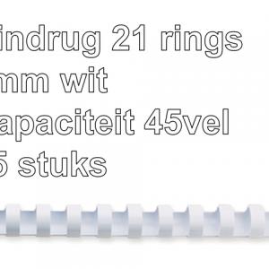 5330403 - FELLOWES Bindrug Kunststof A4 21-Rings 8mm Wit 25st