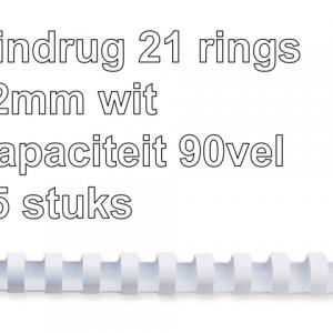 5331203 - FELLOWES Bindrug Kunststof A4 21-Rings 12mm 90vel Wit 25st