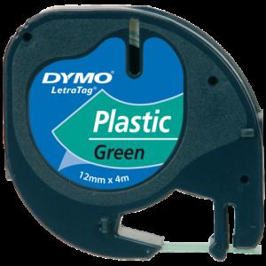 S0721640 - DYMO Lettertape LetraTag 12mm 4m Groen Zwart Plastic 91204