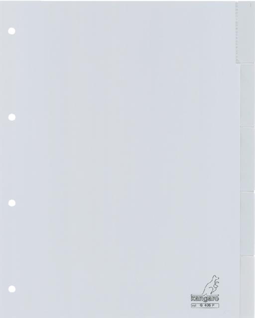 G405F - KANGARO Tabbladen 4-Gaats Met Venster 5-Delig 120Mµ Grijs 1-Set A4