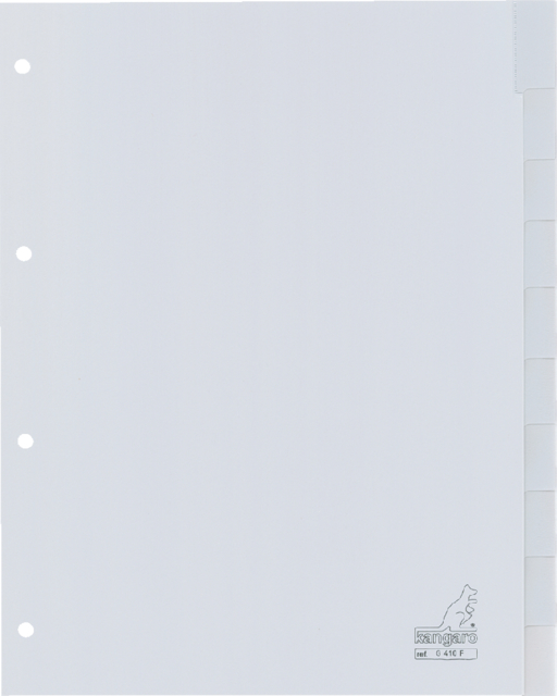 G410F - KANGARO Tabbladen 4-Gaats 10-Tabs 120Mµ Grijs 1-Set A4