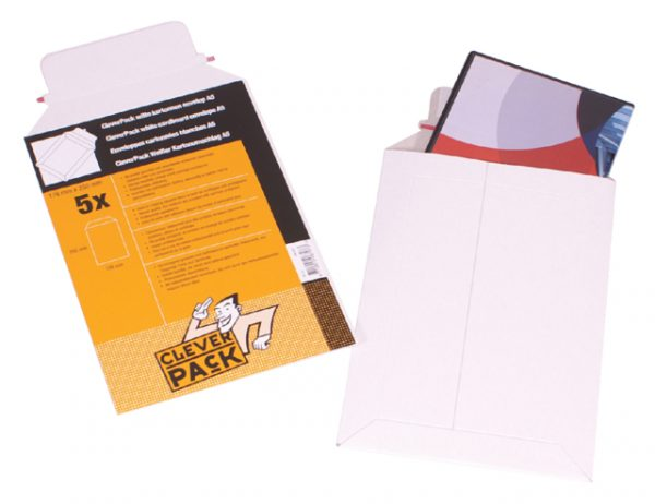 530401 - CLEVERPACK Kartonnen Envelop B4 250x353mm 450gr Strip 5st Wit