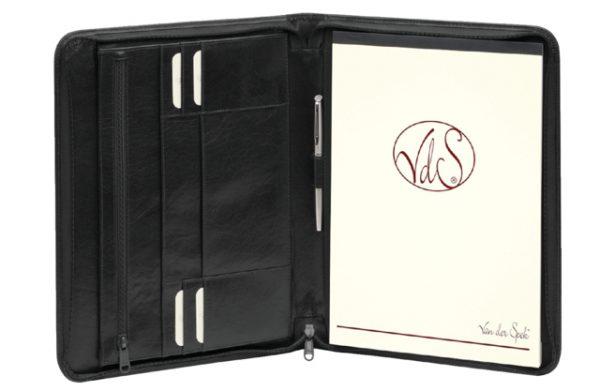 388-265 - LUI Schrijfmap met Rits Zwart A4