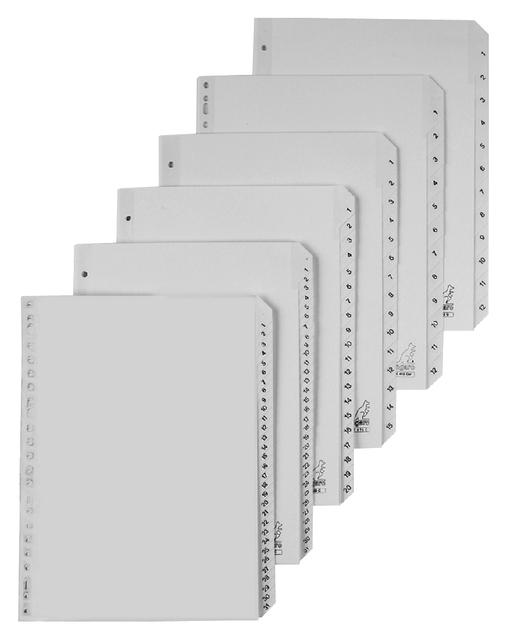 G452C - KANGARO Tabbladen 4-Gaats 1 tot 52 120Mµ Grijs 1-Set A4