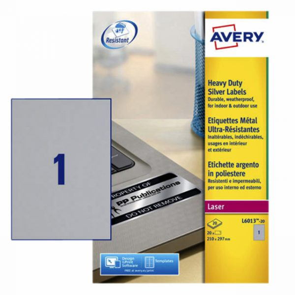 L6013-20 - AVERY Gekleurde Etiketten Zweckform L6013 A4 20st Zilver
