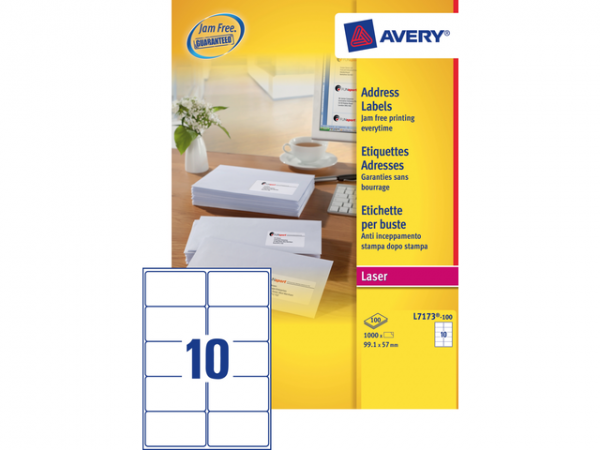 L7173-100 - AVERY Adres Etiket QuickPEEL L7173 99.1x57mm 1.000st Wit 1 Pak